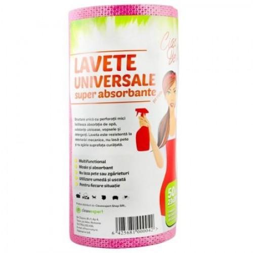 Lavete universale superabsorbante 50 buc/rola, roz, Ciao Bella
